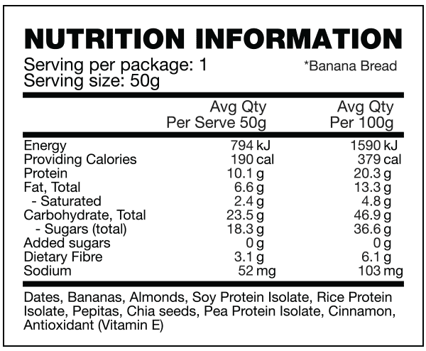 nutritional info about Body Science - Clean Bar