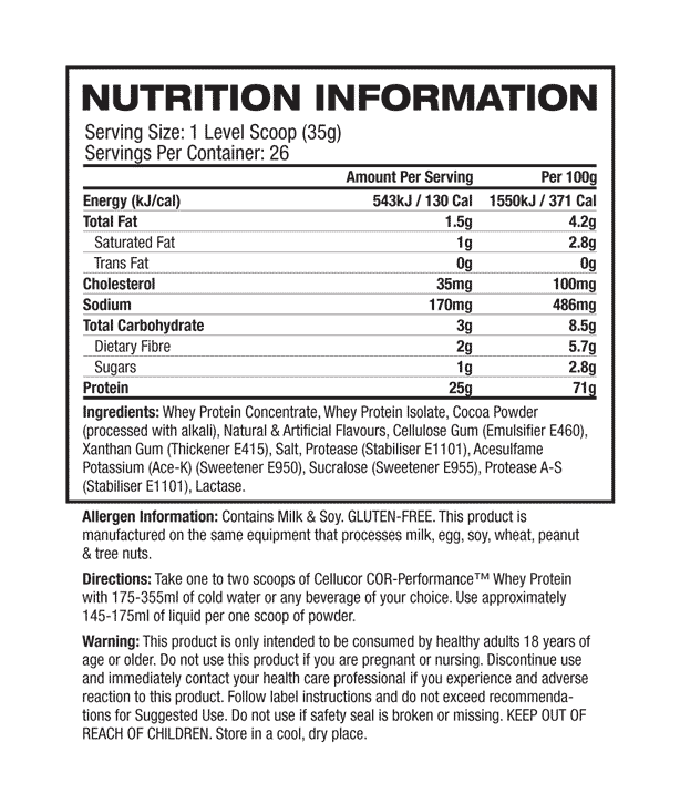 Nutritional Info about Cellucor - Cor Performance Whey