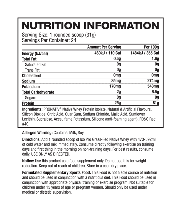 Nutritional Info about Cellucor - Iso Pro Grass Fed Native Whey