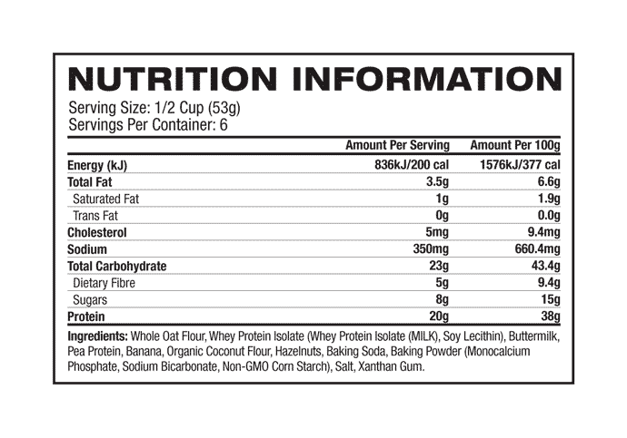 nutritional info about FlapJacked - Protein Pancake & Baking Mix