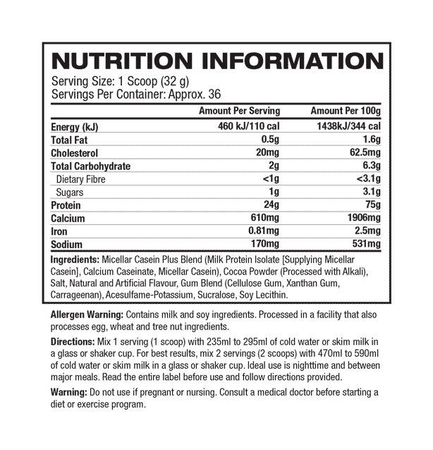 nutritional info about Muscletech - Nitro-Tech Casein Gold