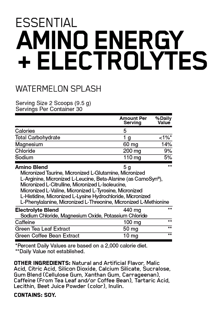nutritional info about Optimum Nutrition - Amino Energy + Electrolytes