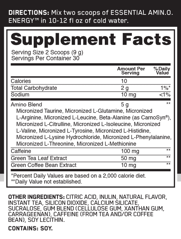 some supplement facts about Optimum Nutrition - Amino Energy - Tea Series