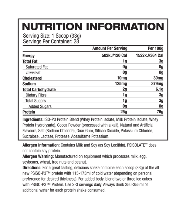 nutritional information about Pro Supps - ISO-P3