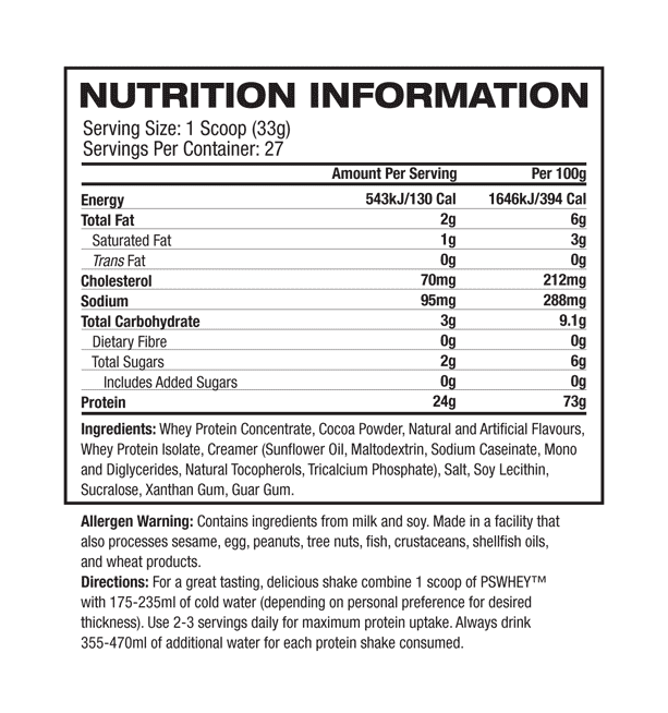 nutritional information about Pro Supps - PS WHEY