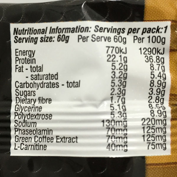 Image result for maxs super shred bar nutrition panel